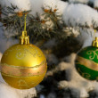 Christmas decoration on fir branch — Stock Photo