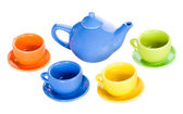 Teapot and four cup set — Stock Photo
