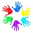Royalty-Free Stock Photo: Set of hand prints of diffrent colors