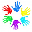 Stock Photo: Set of hand prints of diffrent colors