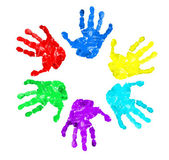 Set of hand prints of diffrent colors — Stock Photo
