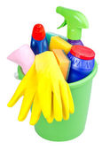 Bucket with cleaning articles — Stock Photo