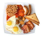 Traditional english breakfast on plate isolated — Foto de Stock