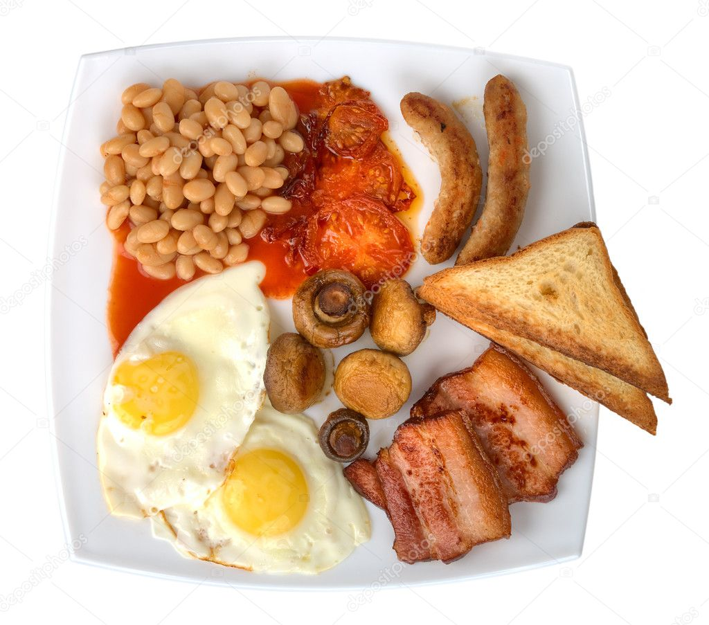Close-up traditional english breakfast, isolated on white — Stock Photo #4860420