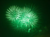Green fireworks at night — Stock Photo