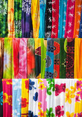Assortment of colorful sarongs — Stock Photo