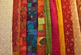 Colorful turkish fabric samples — Stock Photo