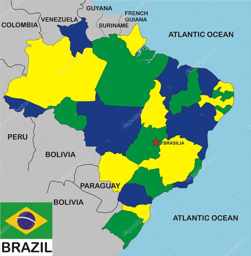 Brazil Map — Stock Photo © tony4urban 4444582