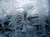 Snow pattern on winter window — Stock Photo