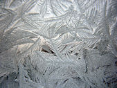 Frosty pattern on winter window — Stock Photo
