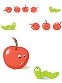 Apple and caterpillar — Stock Vector