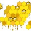 Bees and honeycombs — Stockvectorbeeld