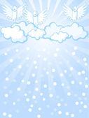 Angels and snowfall — Stock Vector
