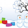 Snowmans and buying — 图库矢量图片
