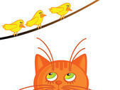 Gato y birdies — Vector de stock
