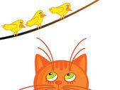 Gato e passarinhos — Vetorial Stock