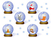 Glass balls (Сristmas set) — Stock Vector