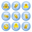 Bees buttons — Stock Vector