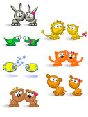 Isolated pairs of animals — Stock Vector