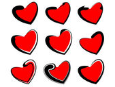 Samples of hearts — Stock Vector