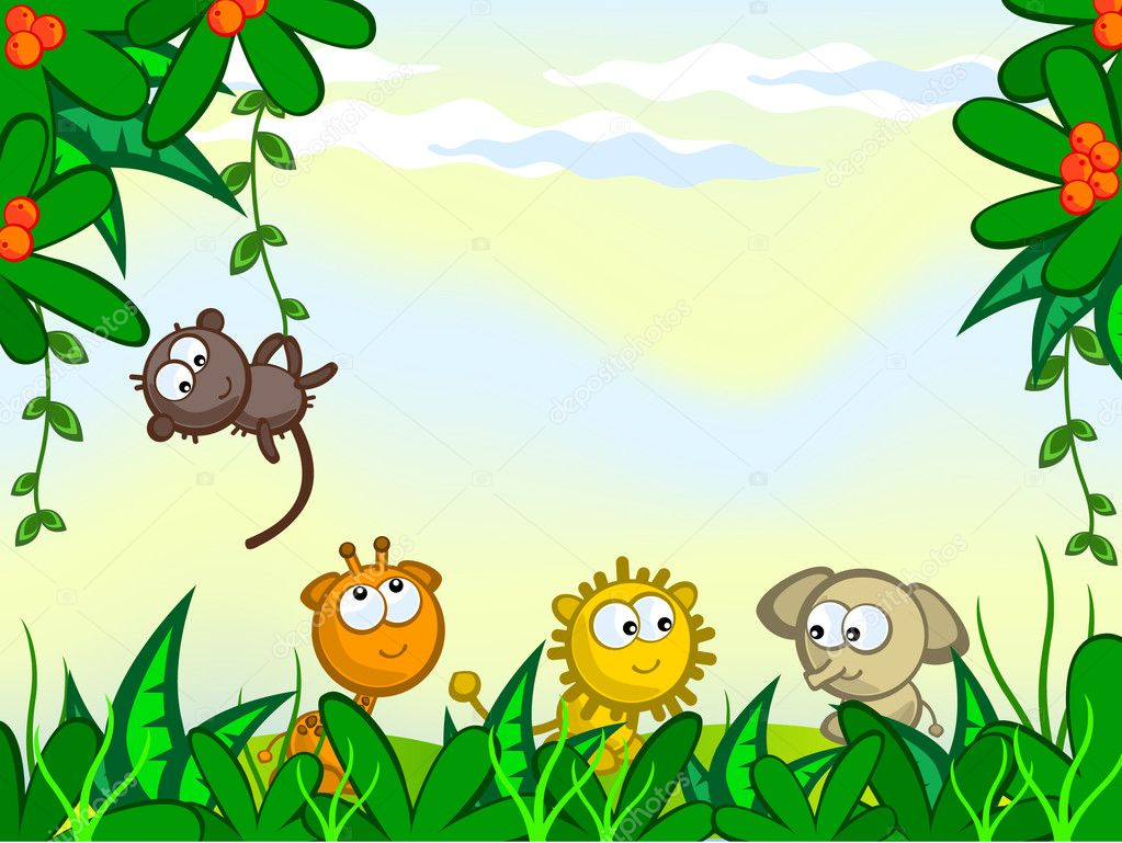 Vector cartoon background. Jungle. The frame of the plant. They protrude from African animals. Monkey, giraffe, lion, elephant. — Stock Vector #5076572