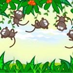 Funny monkey — Stock Vector
