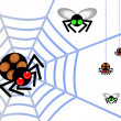 Spider and fly — Vector de stock