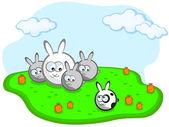 Rodina králíků — Stock vektor