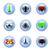 Insect buttons set — Stock Vector