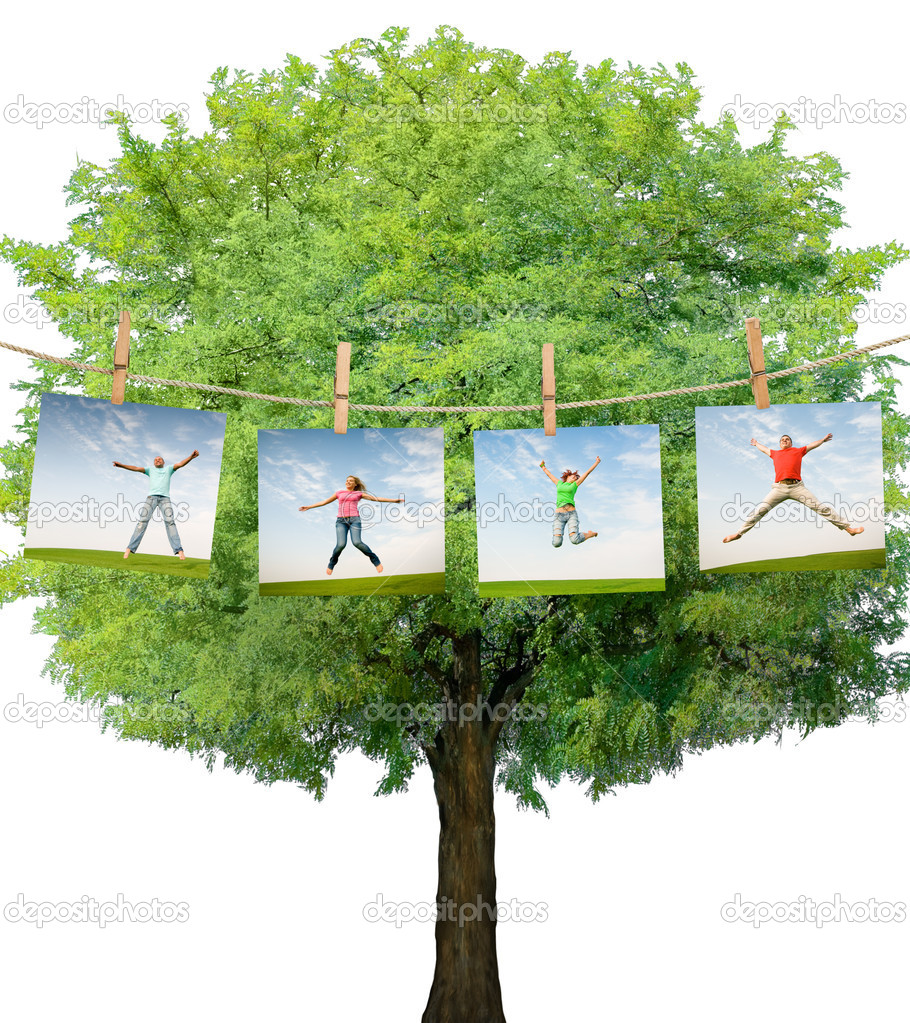 Jumping on idyllic landscape  Stock Photo #4593220