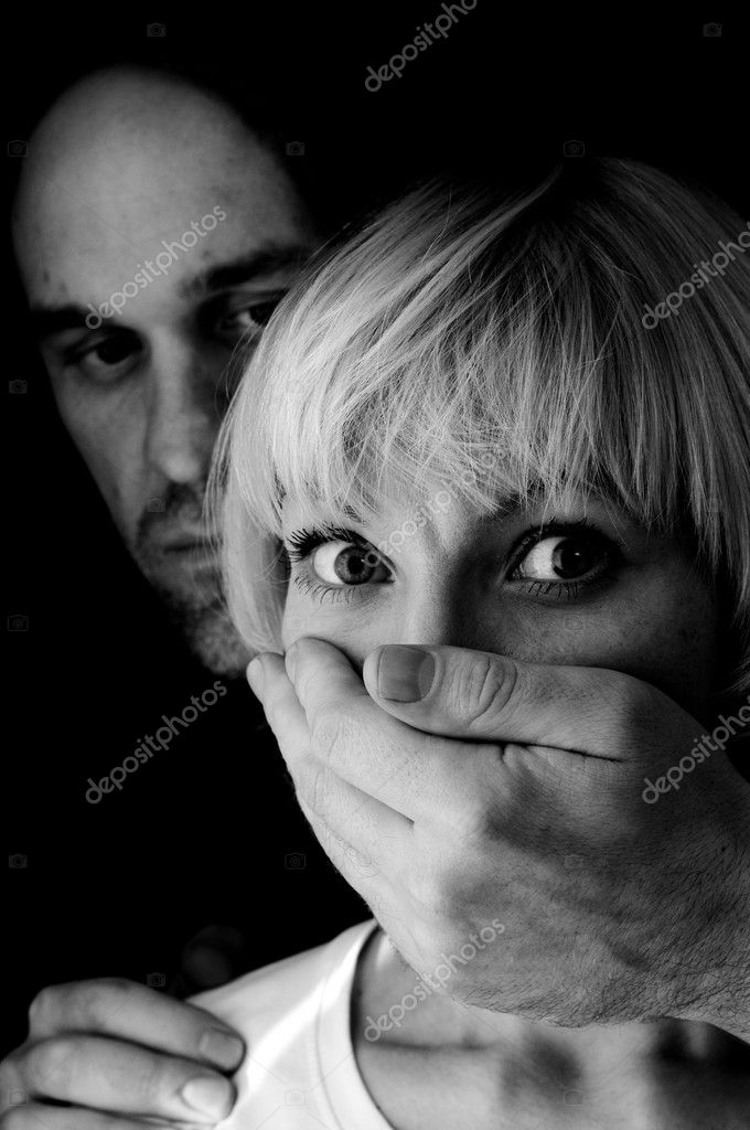 Domestic violence black and white — Stock Photo #4688584