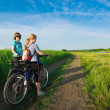 Two girls relax biking — Stock Photo