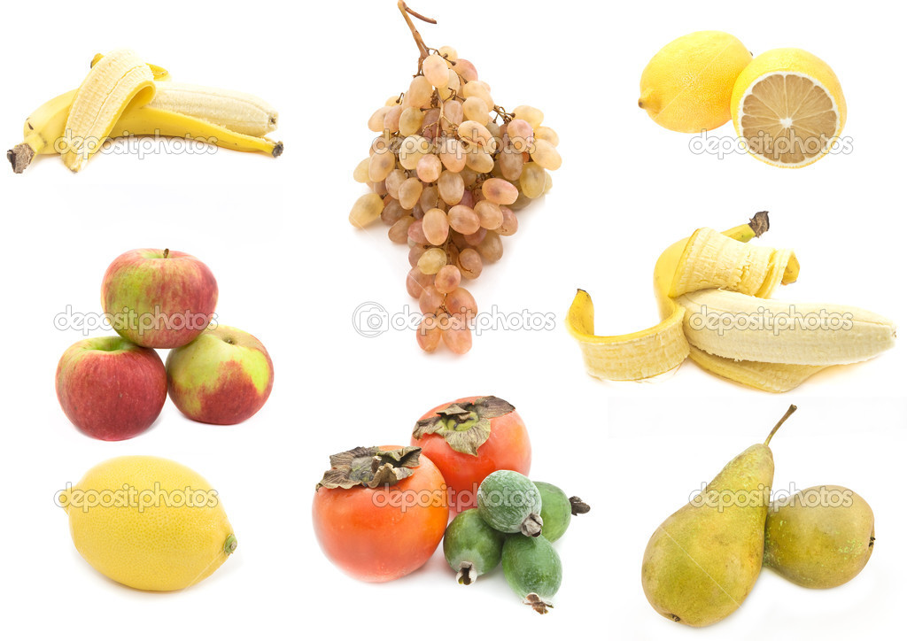 A collage of different healthy fruits isolated on a white background.  — Stock Photo #4364799