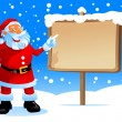 Santa show on the board — Imagen vectorial