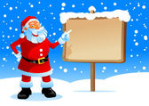 Santa show on the board — Vector de stock
