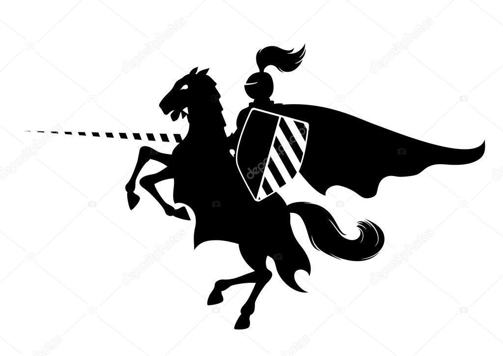 Silhouette of medieval knight on the horse, vector illustration can be scale to any size  Stock Vector #4077284