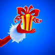 Santa hand with gift — Image vectorielle