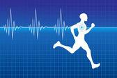 пульс работает спортсмен — Cтоковый вектор