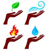 手与自然元素 — 图库矢量图片