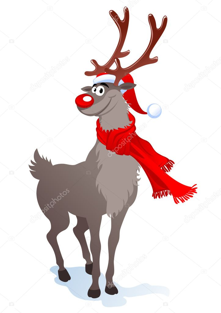 Cartoon smiling reindeer in santa hat. Vector illustration can be scale to any size. — Stock Vector #4263515