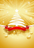 Gold Christmas Card with Christmas Tree — Vecteur
