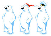 Cartoon Polar Bear — Vector de stock