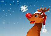 Rendieren en sneeuwvlok — Stockvector