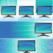Banners with monitors - Image vectorielle