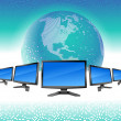 Modern monitors line and globe - Image vectorielle