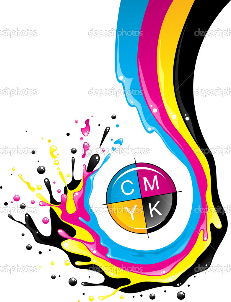 Conceptual illustration. Liquid CMYK paint move down with splashes and drops. — Stock Vector #4762656