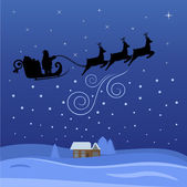 Santa Claus flying through the night on Christmas — Stock Vector