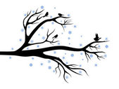 Winter tree with birds — Stock Vector