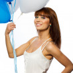 Woman holding balloons — Stock Photo