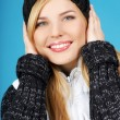 Stock Photo: Playful winter woman